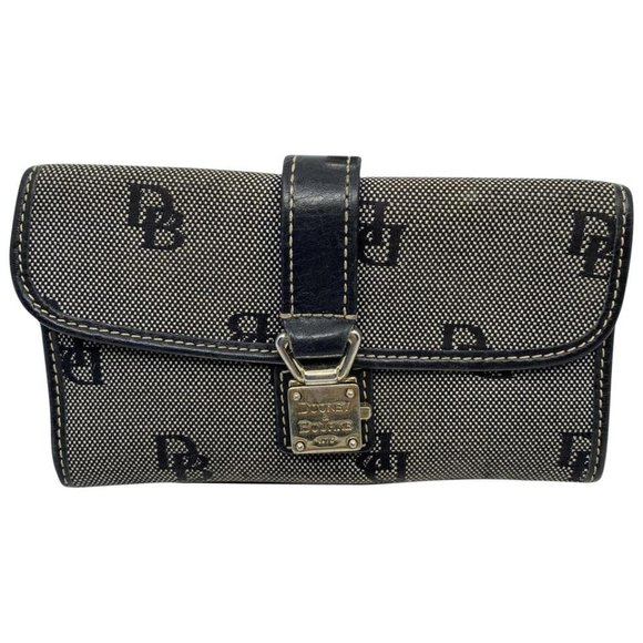 Dooney & Bourke Handbags - Dooney & Bourke Gray Black Leather Wallet